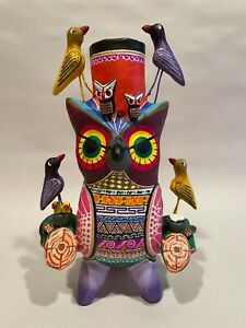 Mexican Hand painted OWL Candelabra, Mexican Pottery, Owl Candle