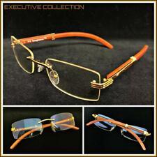 Mens CLASSY SOPHISTICATED ELEGANT Clear Lens EYE GLASSES Rimless Gold Wood Frame