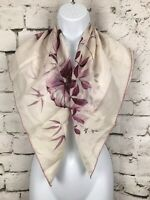 """Vintage Scarf Gorgeous White Scarf with Purple Floral Design 31X31"""""""
