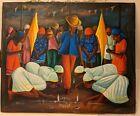 Vintage Haitian art Voodoo scene by S. Pierre, painted on flour sack, beautiful