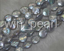 """1 Strand 11-12mm Luster Grey Coin Freshwater Pearls Loose Bead 14.5""""  AA+"""