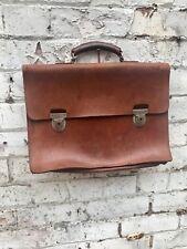 Vintage 50's 60's Tan Leather Antler Briefcase Satchel Bag Luggage Mod