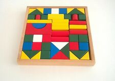 Children's Toy 50pce Wooden Building Blocks in Wooden Tray