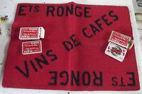 Tapis de jeu publicitaire + jeu de cartes ; RONGE Vins de café