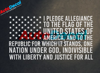 America Flag I Pledge Allegiance Vinyl Sticker Decal Window Car USA 2nd #355