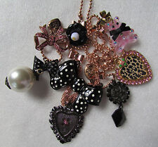 Betsey Johnson Necklace Candyland Teddy Bear BIG Polka Dot Bow NWD