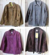 100% Leather Jacket Denim & Co Washable Coat Size XL M 1X 3X Choose Color New