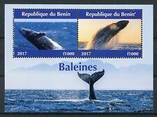 Benin 2017 MNH Whales 2v M/S Baleines Marine Mammals Animals Stamps