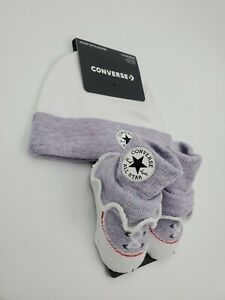 Converse Chuck Taylor Baby Girls Hat & Booties Gift, 0-6 Months, Purple B48 P