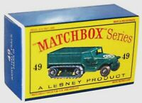 Matchbox Lesney No 49 Army Half Track Mark III empty Repro  Box  style D