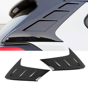 Carbon Fiber Look Rear Window Spoiler Pillar Cover Trim Fit For Toyota RAV4