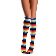 Knee-High Rainbow Toe Socks Brite Striped Stockings Hosiery Adult