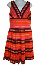 Kay Unger striped party dress sz 8 pink & orange NEW