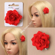 SMALL 4cm RED FABRIC ROSE FLOWER ON SPRUNG BEAK HAIR CLIP GRIP WEDDING PROM NEW