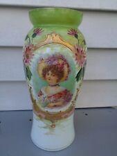 ANTIQUE BRISTOL GLASS VICTORIAN BONNET GIRL OPALINE HAND PAINTED VASE