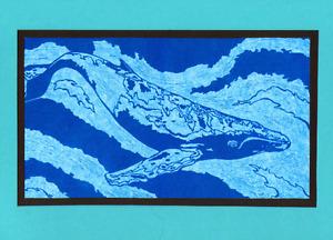 5 Handmade Humpback Whale Linocut Cards Block Print Ocean Sea Animals Nautical