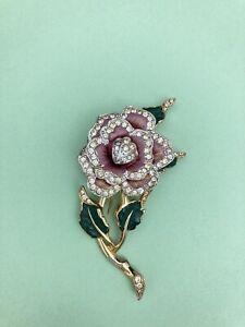 BEAUTIFUL VTG CORO? RHINESTONE ENAMEL PINK ROSE FLOWER FIGURAL FUR CLIP PIN