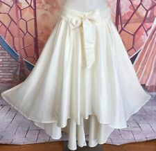New White Hi-Lo Party Skirts Women Wedding Skirts Satin Formal Evening Skirts L