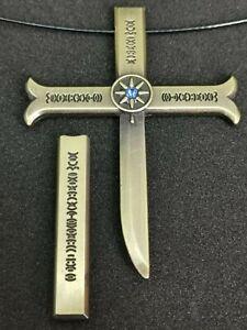 One piece Anime Dracule Mihawk Inspired Alloy Cosplay Cross Sword Necklace UK
