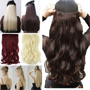 UK One Piece Natural THICK Clip in Hair Extensions Half Full Head Long Straight