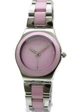 New Swatch Irony Pink Ceramic Steel Band Women Dress Watch 33mm YLS167G $125
