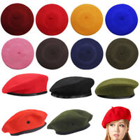 Solid Warm Wool Winter Womens Beret French Artist Beanie Military Hat Cap Unisex