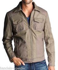 Jacke Leder Lederjacke Herren Tom Tailor Gr. S beige, Materialmix Leder/Textil