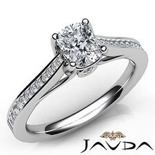 Cushion Cut Diamond Channel Set Engagement Ring GIA I VS2 18k White Gold 0.91Ct