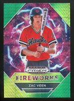 Zac Veen 2020 Panini Prizm DP Fireworks #179 Rookie RC Green SP ( Rockies )