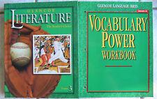 Glencoe Literature,Course 3, gr.8 Text&Vocabulary Workbook, Both NEW 2002
