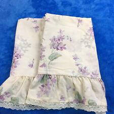 J.C. Penneys Lace Floral Print Pillow Sham Standard Ruffled Cream Purple Bedding