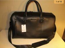 Robert Graham Signature Black Embossed Leather Weekend Travel Duffle, NWT