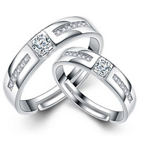 2Pcs Wedding Engagement Ring Set 925 Sterling Silver Crystal Ring Adjustable