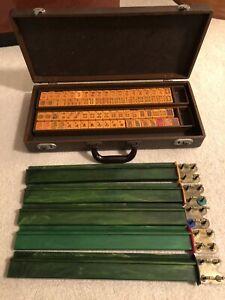 Rare Vintage Mah Jong Set, Butterscotch Bakelite, 152 Tiles, 5 Bakelite Racks