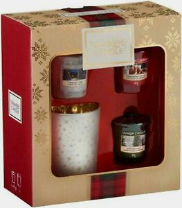 Yankee Candle Christmas Gift Set New In Box Xmas 3 Votives With Holder SALE