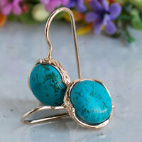 14K Solid ROSE GOLD Round 12 mm TURQUOISE TURQUOISE Drop Earrings - HANDMADE