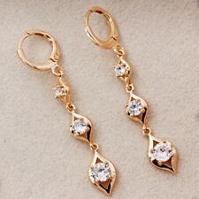 """18K Gold Filled 1.7"""" Earrings Hollow rhombus Line Zircon Topaz Dangle Boho Women"""