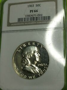 1963 50c Silver Proof Franklin Half Dollar NGC PF 66