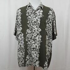 Ocean Current Mens Shirt size Med. Hawaiian Style Short Sleeve Green White