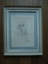 Beau dessin encadré portrait de Jean Cocteau par Brunet 1945