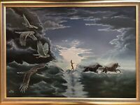 "EPIC 42"" SURREALIST PAINTING FANTASY OIL ON CANVAS RAPTOR HORSE MYSTERY SIGNED"