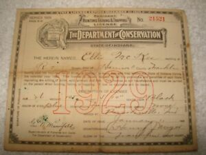 1929 Indiana Resident Hunter's And Fishing Trapping License