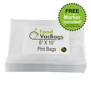 200 Pint 6X10 FoodVacBags Embossed for FoodSaver machine Vacuum Sealer Bags