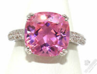 Sparkling Cushion Pink Sapphire Ring Women Anniversary Jewelry White Gold Plated