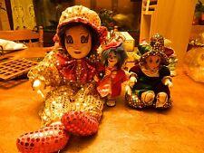 lot of 3 clown dolls porcelain feet face hands glass hand painted