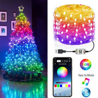Christmas Tree RGB LED Light Smart Blootooth Remote App Contro Fairy String Deco