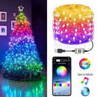 Christmas Tree RGB LED Light Smart Blootooth Remote App Contro Fairy String Deco