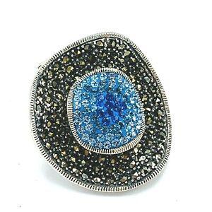 Dallas Prince Sterling Silver Blue Topaz and Marcasite Pendant
