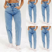 Women High Elastic Waist Trousers Jeans Denim Fit Loose Paperbag Long Pants Size