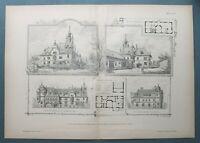 ARds) Architektur Wien Prater 1891 Villa Graf Harnoncourt Haus Holzstich 54x38cm
